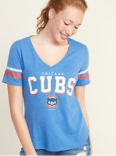 MLB® Team-Graphic Sleeve-Stripe V-Neck Tee for Women