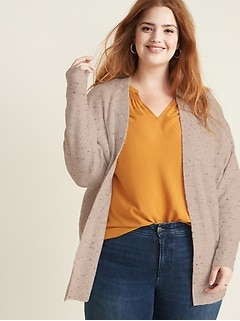 Open-Front Cocoon Plus-Size Sweater