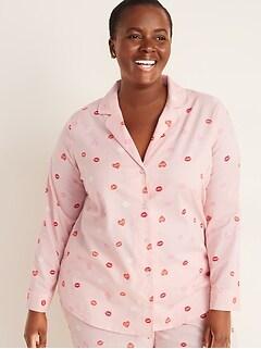 Plus-Size Printed Poplin Pajama Top