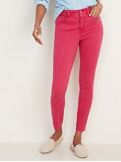High-Waisted Pop-Color Rockstar Super Skinny Ankle Jeans for Women