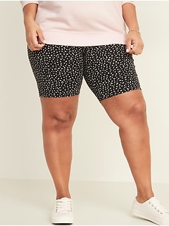 High-Waisted Cheetah-Print Jersey Plus-Size Bike Shorts -- 9-inch inseam