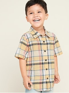 Linen-Blend Plaid Shirt for Toddler Boys
