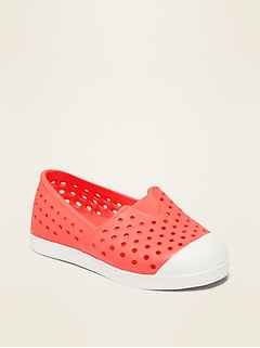 Perforated Pop-Color Slip-On Sneakers for Toddler Girls