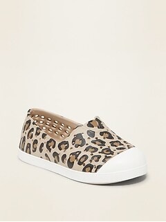Perforated Leopard-Print Slip-On Sneakers for Toddler Girls