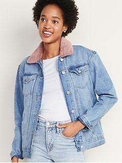 Detachable-Collar Boyfriend Jean Jacket for Women
