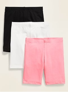 Long Jersey Biker Shorts 3-Pack For Girls