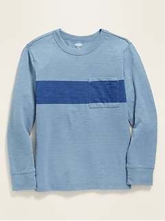 Slub-Knit Center-Stripe Long-Sleeve Pocket Tee for Boys