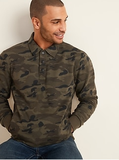 Spread-Collar Long-Sleeve Camo Sweatshirt for Men