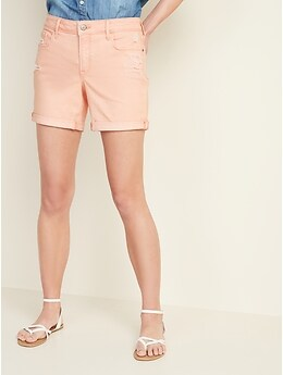 Mid-Rise Distressed Pop-Color Jean Shorts for Women -- 5-inch inseam