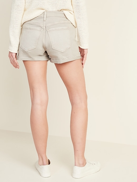 Mid-Rise Distressed Boyfriend Beige-Color Jean Shorts for Women -- 3-inch inseam