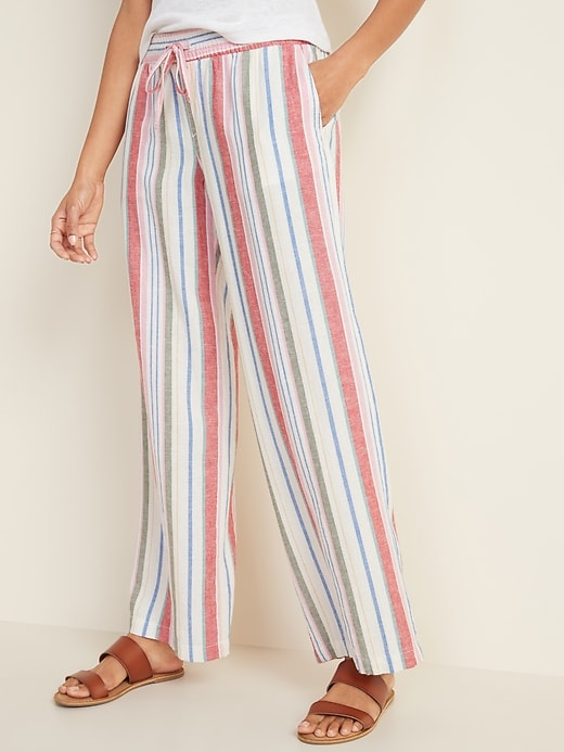 Old Navy: Mid-Rise Wide-Leg Linen-Blend Pull-On Pants for Women $14.00