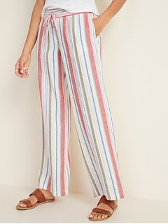 Mid-Rise Wide-Leg Linen-Blend Pull-On Pants for Women