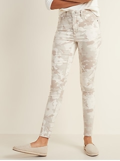 High-Waisted Camo-Print Rockstar Super Skinny Jeans for Women