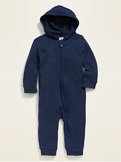 Unisex Cozy Plush-Knit Hooded One-Piece for Baby