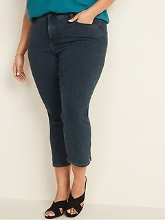 High-Waisted Secret-Slim Pockets Plus-Size Side-Slit Cropped Rockstar Jeans