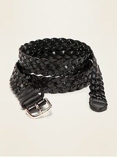 Braided Faux-Leather Belt for Women (1