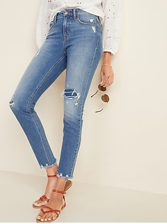 High-Waisted Power Slim Straight Raw-Edge Jeans for Women