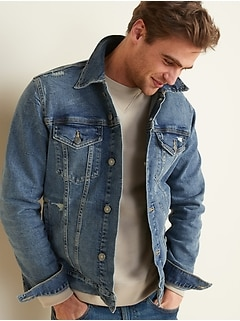 Distressed Built-In Flex Gender-Neutral Jean Jacket for Adults