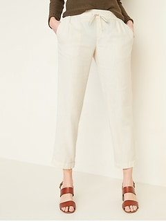 Mid-Rise Cropped Linen-Blend Pants for Women