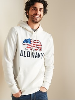 Logo Americana Graphic Pullover Hoodie for Men