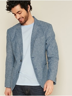 Built-In Flex Linen-Blend Blazer for Men