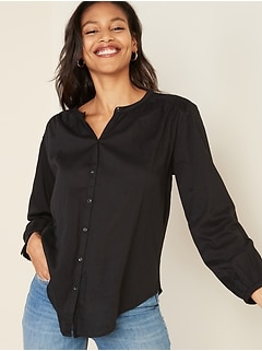Oversized Smocked-Yoke Shirt for Women