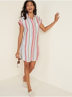 Linen-Blend Striped Shirt Dress for Women