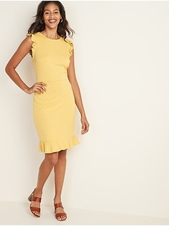 Sleeveless Ruffle-Trim Sheath Dress for Women