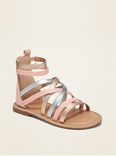 Strappy Faux-Leather Gladiator Sandals for Toddler Girls