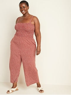 Printed Smocked-Bodice Jersey Plus-Size Cami Jumpsuit