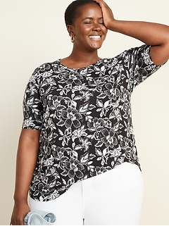 Luxe Plus-Size Floral Elbow-Sleeve Tunic Tee