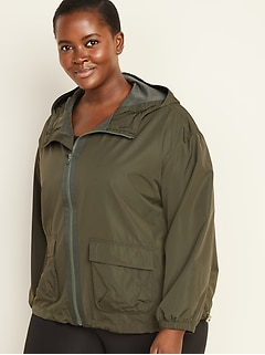 Hooded Utility Plus-Size Performance Jacket