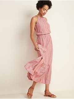 Waist-Defined Braided-Strap Dobby Stripe Maxi Sundress for Women