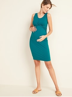 Maternity Twist-Front Jersey Bodycon Sleeveless Dress