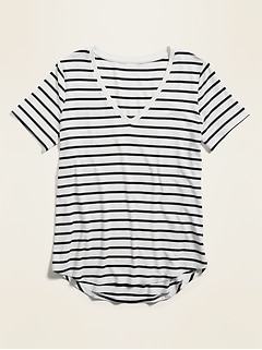 Luxe Striped V-Neck Tee for Women