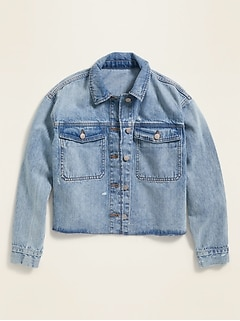 Boyfriend Cropped Cut-Off Jean Jacket for Women