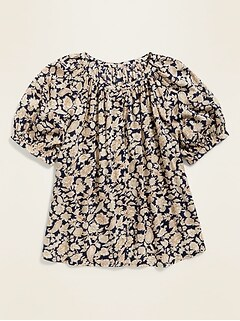 Printed Button-Front Blouse for Women