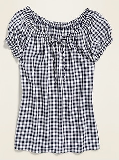 Ruffled Tie-Neck Gingham Blouse for Women