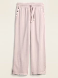 High-Waisted French Terry Cropped Wide-Leg Sweatpants for Women
