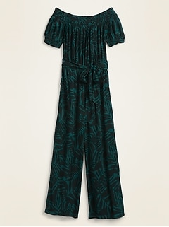 Off-the-Shoulder Crinkle-Crepe Tie-Belt Jumpsuit for Women