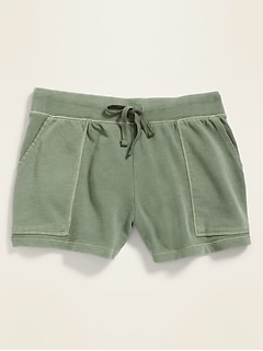 Garment-Dyed French Terry Utility Shorts for Women -- 3-inch inseam