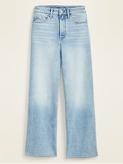 Extra High-Waisted Wide-Leg Raw-Hem Jeans for Women