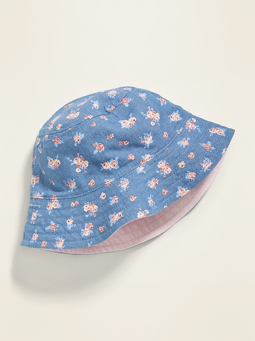 Reversible Canvas Bucket Hat for Toddler Girls
