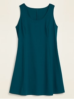 Sleeveless Ponte-Knit Fit & Flare Plus-Size Dress