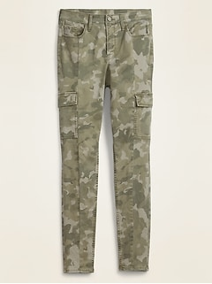 High-Waisted Camo Sateen Rockstar Super Skinny Cargo Pants for Women