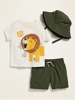 3-Piece Bucket Hat, Graphic Tee and Shorts Set for Baby