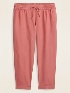 Mid-Rise Linen-Blend Cropped Plus-Size Pants