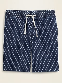 Indigo Ikat-Print Jogger Shorts for Men -- 9-inch inseam