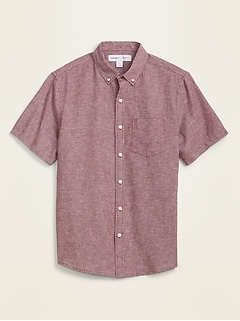 Relaxed-Fit Striped Linen-Blend Short-Sleeve Shirt for Men