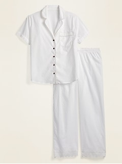Swiss-Dot Eyelet Pajama Set for Women